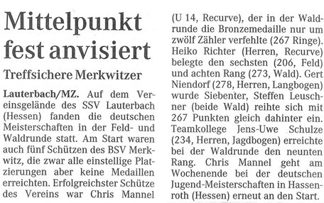 Merkwitzer Bogenschützen bei der DM Feld/ Wald in Lauterbach