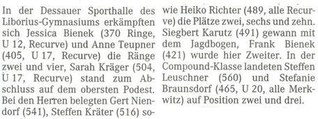 Merkwitzer Bogensportler beim Dessauer-Hallenpokal
