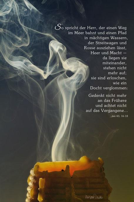 eine verlöschende Kerze, Christliche Spruchkarten, Jesaja 43