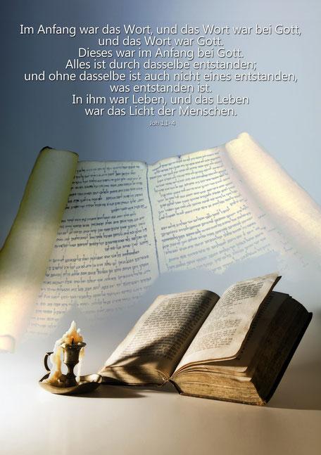 Stillleben mit Bibel, Christliche Spruchkarten, Johannes 1,1