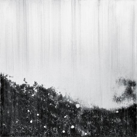 Katharina Lehmann, Black Fog No2, 150 x 150 cm, 2019 · Acrylic on canvas