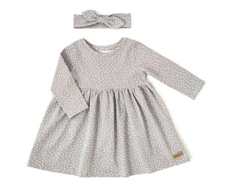 Frühling Kleid grau mit Punkten