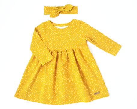 Frühling Kleid gelb mit Punkten