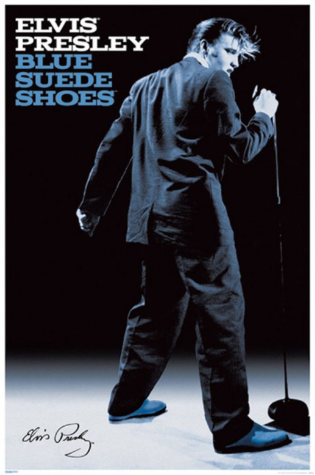 Elvis et ses blue suede shoes.