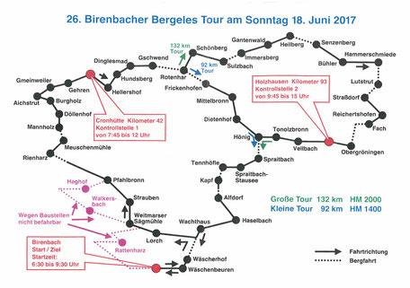 Strekenplan TSV Birenbach Abteilung Radsport