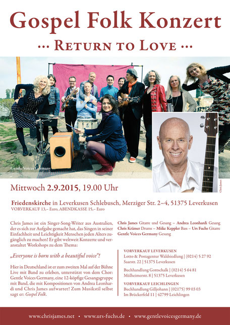 Chris James Gospel Folk Konzert Friedenskirche Leverkusen