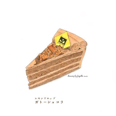 チョコレートケーキ 色鉛筆画
