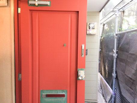 西千葉アパート外壁塗装 ドアのサビ止め