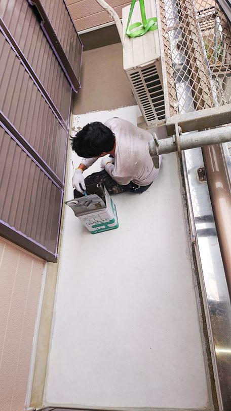 千葉市緑区にてベランダ防水作業1
