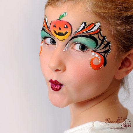 Kinderschminken_Vorlagen; Schminkfarben_kaufen_Schweiz; Kinderschminken_Kurse; einfach; Kürbis