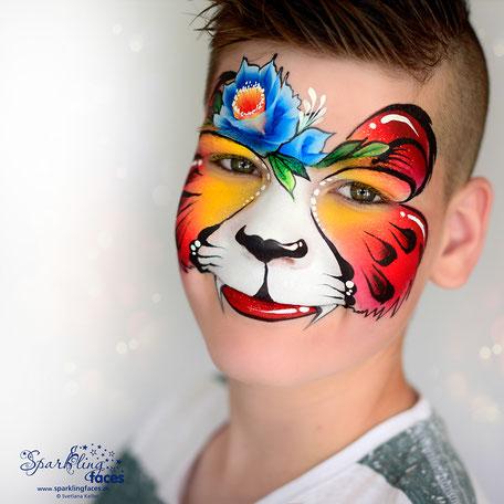 Kinderschminken_Vorlagen; Schminkfarben_kaufen_Schweiz; Kinderschminken_Kurse; Svetlana_Keller; face_painting; Ballonmodellieren; Ballonmodellage; Airbrush_Tattoos; einfach; Tiger