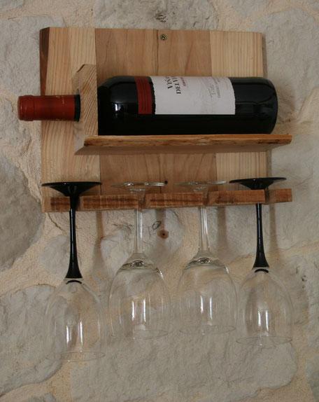 Support bois de palette 1 bouteille 4 verres Hautes-Pyrénées