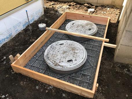 栃木県のバルコニー菜園のある家の家づくりの様子/浄化槽上部のコンクリート打設工事