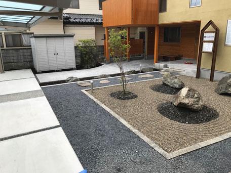 栃木県のバルコニー菜園のある家の家づくりの様子/砂利敷き