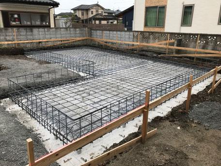 栃木県のバルコニー菜園のある家の家づくりの様子/配筋の工事