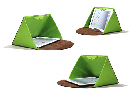 Tablethülle aus Leder und Filt, kann auch als Ständer verwendet werden, die Seiten schützen vor der Sonne und fremden Blicken