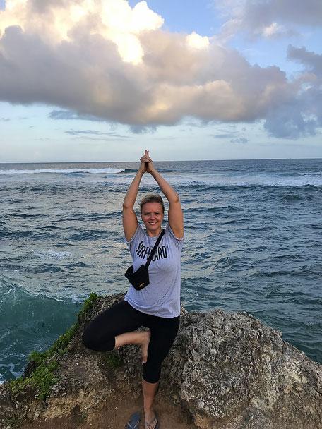 My first official Yoga pose at Mama Ngina Drive, Mombasa