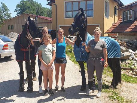 Sandra Plasser mit Ausbildungspferden