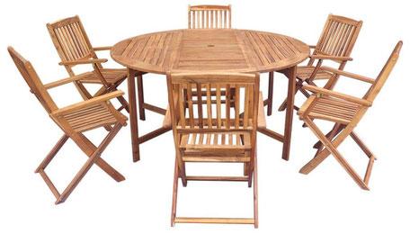 tavolo sedie +legno + acacia +giardino +6 +rotondo +pieghevole +spazio