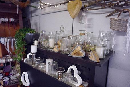 Leihservice von unseren Gläsern und Vasen in der Blumenscheune Utphe