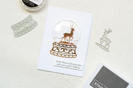 Stampin Up Schneekugel Plastikkuppel Metallic-Folienpapier Flüsterweiß Frostige Grüße Schneeflocken Weihnachtskarte Weihnachten 2019