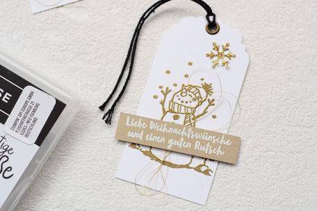 Stampin Up Frostige Grüße Geschenkanhänger Stanze Bezaubernder Anhänger Embossing Gold Savanne Flüsterweiß Azetatschachteln für Karten
