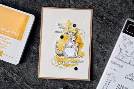Stampin Up Wild auf Grüße Gut gesagt Stempelnd durchs Jahr Seidenglanz Grußkarte Mangogelb Aquapainter