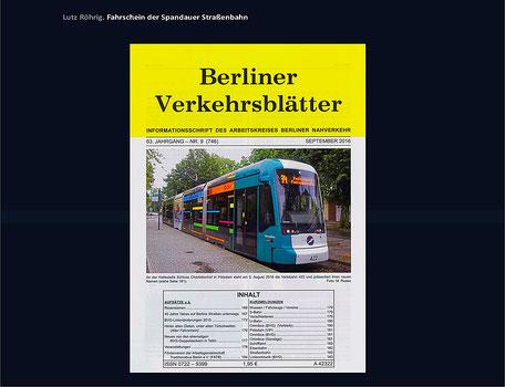 Berlin Spandauer Straßenbahn Berliner Verkehrsblätter