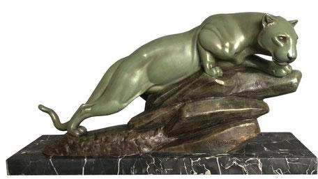 art deco panther, ledouqc, marble, 1930's, sculpture, sculptur