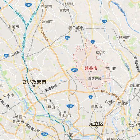 エリアマップ|愛犬・愛猫・ペット火葬「はなの園」引取り・代行・葬儀・供養、埼玉県越谷市