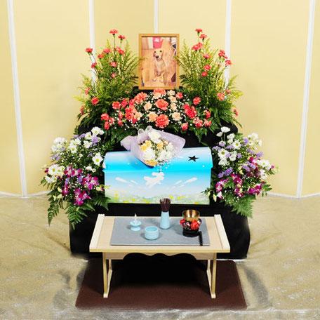 花祭壇50,000円|愛犬・愛猫・ペット火葬「はなの園」引取り・代行・葬儀・供養、埼玉県越谷市