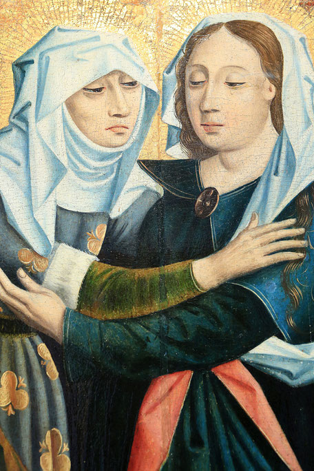 Altarpiece : the Visitation. Alsace, around 1460. Oil on wood. Oeuvre Notre Dame Museum in Strasbourg.