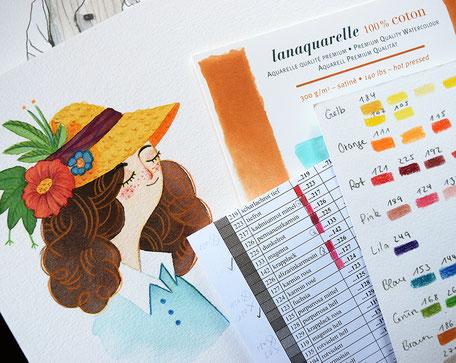 Listen, Farbskalen, Testbögen und ein Blumenmädchen vom Freitagabend