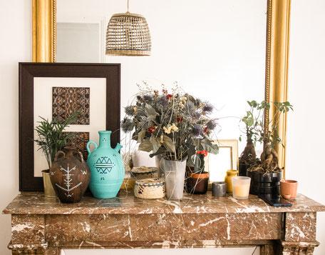 suspension rotin-coussins décoration-housse de couette terracotta-lampe déco