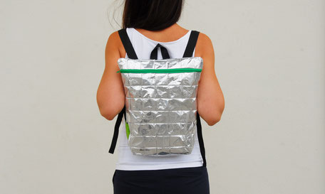 Silver, recycled Backpack, eco friendly, vegan