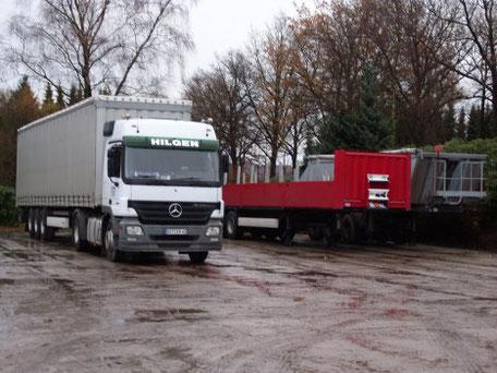 Hilgen Bus Lkw Busfahrt Erdarbeiten Transport Sand Tieflader Reise Bau