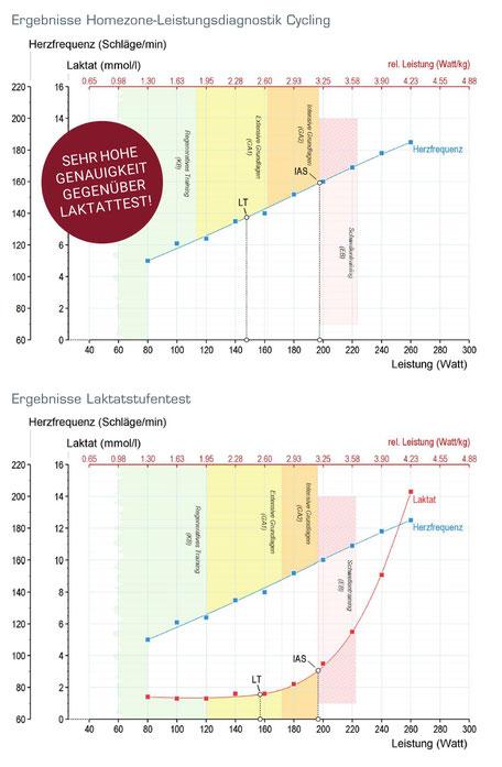 Leistungsdiagnostik zuhause im Vergleich mit einem Laktatstufentest