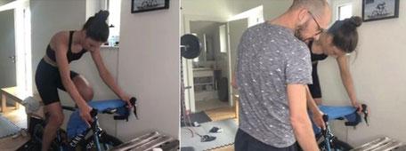 Julia Lange und Ironman-Weltmeister Patrick Lang bei der Leistungsdiagnostik zuhause