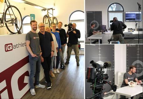 Oberarzt Mario Berwald, Diagnostikexperte Sebastian Mühlenhoff und das Filmteam im Trainingsinstitut iQ athletik
