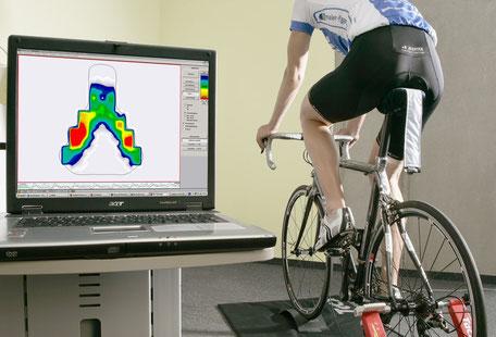 Satteldruckmessung im Bikefittinglabor