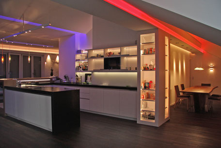 lichtdesign, innerarchitektur, lichtvouten, licht im penthouse, lichtkunst