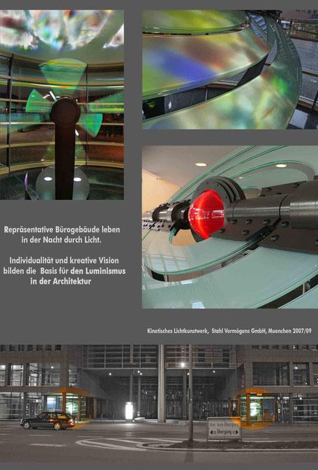 kinetisches lichtkunstwerk_vocal_Kunst am Bau_Bruno Kiesel_Uli Borde_Metallgestaltung_Olafur Eliasson_Lichtplanung