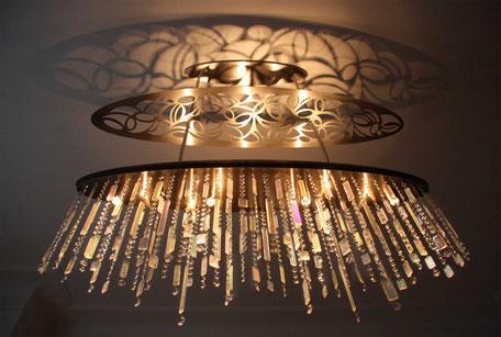 moderne lüster,  kiesel glas, swarovski, schöbel glas, lichtdesign, exklusives wohnen