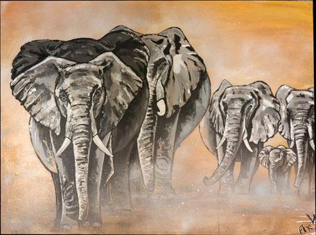 troupeau éléphants dans la poussière peinture acrylique aérosol coucher de soleil