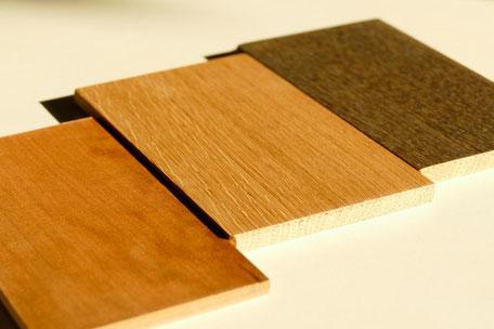 Holzproben Massivholz für Esstisch Eiche und Kirschbaum