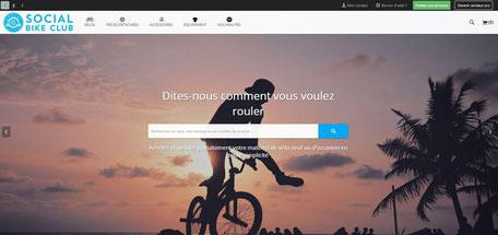 page d'accueil du site de vente de vélos d'occasion social bike club