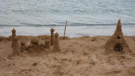 Sandburg, Sandsturm am Strand, Koroni Griechenland