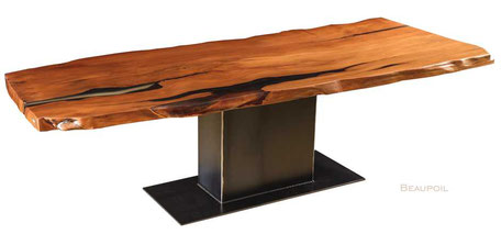 Kauri wood table, exclusive unique table, individually dining table single piece from New Zealand, nature ancient tree trunk table