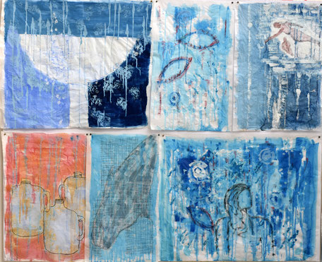 Água matriz da vida  técnica mista sobre papel  160x170 cm