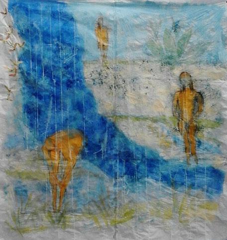 Lost paradise  Mischtechnik auf Papier  160 x 170 cm